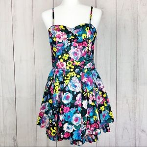 Divided Dresses - Divided H&M Neon Colorful Floral Tulle Dress